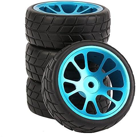 Youzone RC 1:10 de coches de carretera azul de aleación de aluminio de 10 radios de la rueda y llanta de neumático de goma (paquete de 4)
