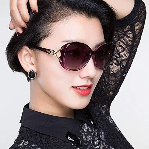 Damen Sonnenbrille Koreanische Version der Gezeiten Brille rundes Gesicht langes Gesicht polarisierte Sonnenbrille weibliche polarisierte lila Rahmen progressive lila, polarisierte lila Rahmen progre