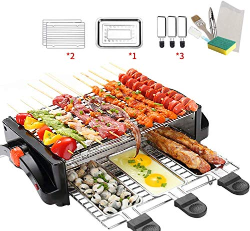 AMAZACER Raclette Grill |2 Etagen Elektro kuhlschrank Mit Mini Pfannen/Thermal Radfahren Haushalts Smokeless Barbecue intelligente Thermostat Heat Control 260deg; C | Non-Stick Kochfläche |Großer 15