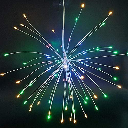 MERRYHE Le Feu d'artifice Féerique Coloré Allume 120 LED 8 Modes Dimmable avec La Télécommande, Starburst Suspendu à Piles Accrochant Le Décor De Festival De Dîner,120LED-6Pack
