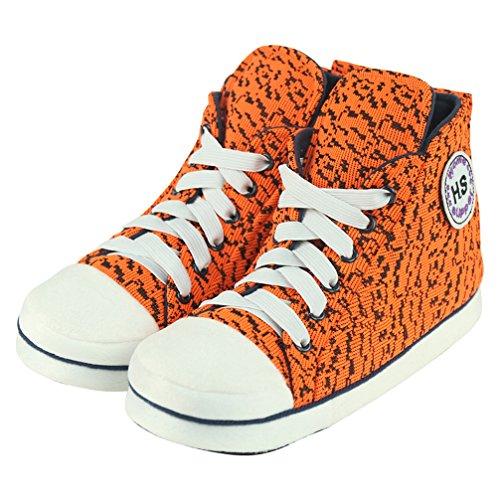 Home Slipper Unisex Kinder Sneaker Hausschuhe Pantoffeln für Zuhause angenehm und kuschelig in diverse Muster Orange