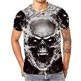 Kanpola Oversize Herren Shirt Slim Fit Schwarz Adler Totenkopf 3D Bedruckte Kurzarmshirt T-Shirt Tee (Schwarz, L/50)