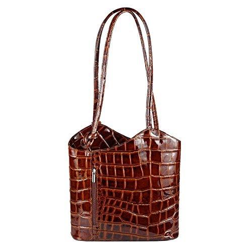 OBC Made in Italy Ledertasche Damentasche 2in1 Handtasche als Rucksack oder Umhängetasche/Schultertasche Tablet/Ipad mini bis ca. 10-12 Zoll 27x29x8 cm (BxHxT) (Dunkelblau (Lackleder)) Braun (Lackleder)