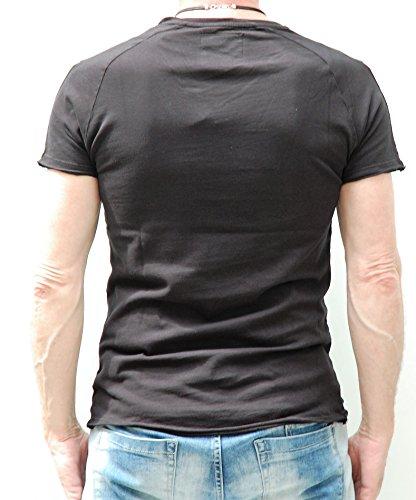 Key Largo, Herren T-Shirt, Rockstar, V-Neck, Patches Black