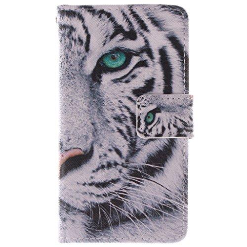 SATURCASE Nokia Lumia 630 635 Hülle, PU Leder Flip Brieftasche Standfunktion Kartenschlitze Tasche Hülle Schutzhülle Handycover für Nokia Lumia 630 635 (Cool Tiger) (Nokia Lumia 635 Handy Fall)