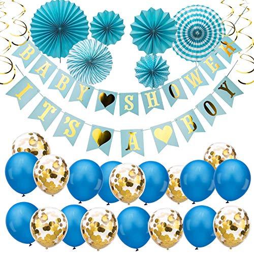 pier Girlande Banner für Jungen Baby Shower Party Dekorations Set, Papierfächer, Latexballons, Konfetti-Ballons, Gold Spirale Ornamente Dekor für Geschenkparty Decor ()