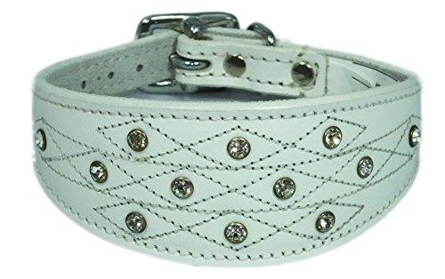 4doggies Hundehalsband, Leder, Italienisches Windspiel, Stickmotiv mit Schmucksteinen, 30,5-35,6cm, Weiß -