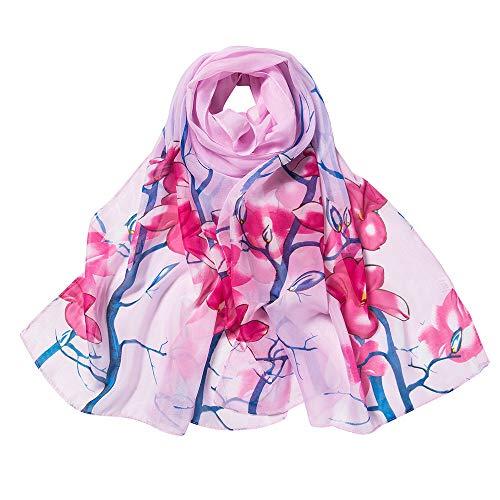 (Xmiral Damen-Schal-Chiffon- Blumen die netten beiläufigen Partei-langen weichen Verpackungs-Schal-Schal drucken(Rosa))