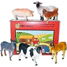Granja Animal de juguete de plástico Figuras caja de juego de 5