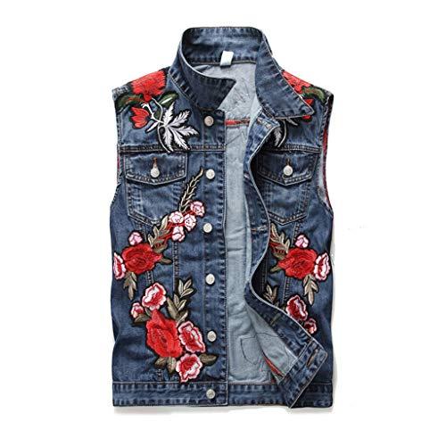 Vest Chaleco Mezclilla Hombres Azul Rosa Bordado Letras