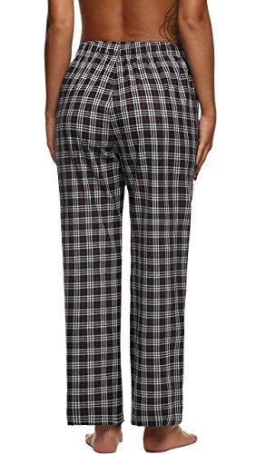 Ekouaer Pantalon Pyjama Femme à Carreaux Coton Bas de Pyjama Taille XS-XL Noir