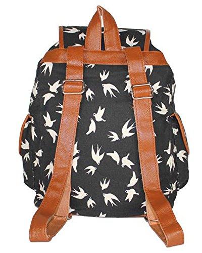 Damen Mädchen Casual Vintage Canvas Segeltuch Taschen Reisetaschen Schultaschen Rucksack Grau Diamant Schwarz