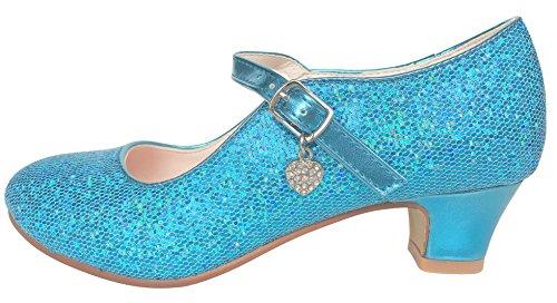 La Senorita Elsa Frozen Prinzessinnen Schuhe blau mit kleines Herzchen Spanische Flamenco Schuhe (Größe 30 - Innenmaß 20 (Schuhe Disney Prinzessin)