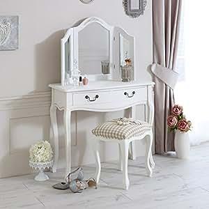 Melody Maison Gamme classic whiteCoiffeuse avec tabouret et miroir triple