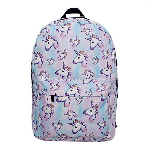 Imagen de smallbox 2017 nueva moda unicornio patrón  de la escuela de las muchachas totalmente impreso viaje de la cabina bolsa pack de 3  azul  alternativa