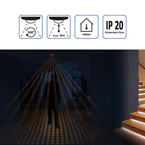 deleyCON Infrarot Decken-Bewegungsmelder – für Innenbereich – 360° Arbeitsfeld – Reichweite bis 6m – einstellbare Umgebungshelligkeit – IP20 Schutzklasse – optimal für Unterputz Deckenmontage – Weiß - 4