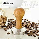KITCHY Seluna Stainless Steel Flat Oak Wood Handle Coffee Tamper 51mm 58mm Barista Espresso Coffee Maker Manual Grinder High Quality: 51mm