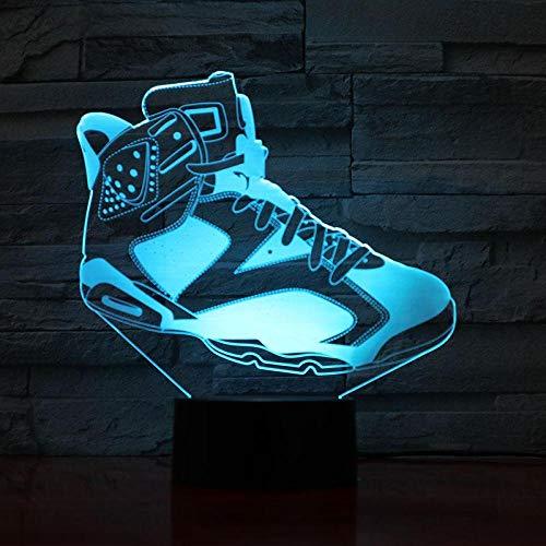 Jordan Retro 4 Schuhe Basketball Lampe Nacht Dekor 3D Illusion Touch Sensor Jungen Kinder Geschenk Led Nachtlicht Air Jordan 4 Turnschuhe USB wiederaufladbare Basketball Fans Präsentieren Energiespare (Air Jordan Haus)