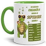 Tassendruck Geburtstags-Tasse Die Coolsten Chillkröten Werden im September Geboren Innen & Henkel Hellgrün - Mug/Cup / Becher/Lustig / Witzig/Geschenk-Idee