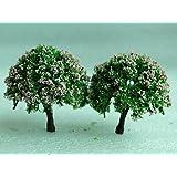 SecretRain Miniature Garden Fairy Ornament Flower Pot Plant Pot Home Decor 2pcs Tree Set by SecretRain