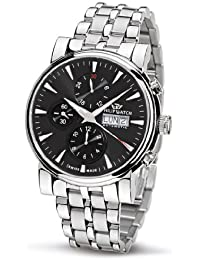 Philip Men's Wales Chronograph Watch R8243693025 with Automatic Movement, Black Dial and Stainless Steel Case