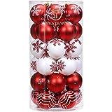 Sea Team 30 Stück Weihnachtskugeln Box Christbaumschmuck aus Kunststoff bis Ø 6 cm Glänzend Glitzernd Weihnachten Deko Anhänger, Rot und Weiß