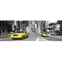 Póster para puerta de Nueva York, Times Square, taxi amarillo (158 x 53 cm)