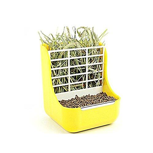 Okared Cibo per fieno, feeder, Small Animal Supplies Rabbit cincillà cavia 2in 1feeder ciotole a doppio uso per erba e cibo, N9000 Iii