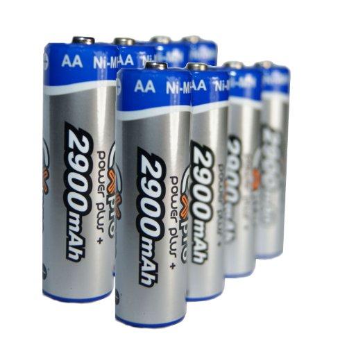 Ex-Pro Power Plus+ High Capacity aufladbare AA-Batterien, 2 Pack mit je 4 Batterien, 2900mAh Langlebig Exilim Digital-batterie