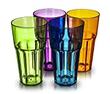 LIVIVO ® Set of 4 Colourful Hi Ball Plastic Acrylic Drink Tumblers – Pack Includes Green, Blue, Pink and Red 500ml Stackable Glasses - Great for Picnics, BBQ's, Poolside, Camping, Children's Parties or Just Everyday Use - Lightweight, Stackable, Washable, and Easy to Clean
