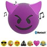 Jamoji Bluetooth Haut-parleur avec Éclairage LED - Trouble - Diable aux cornes Smiley Emoticon Emoji - Haut-parleur sans Fil - Autonomie 6 Heures - avec Pied - Connecteur AUX et Micro-USB