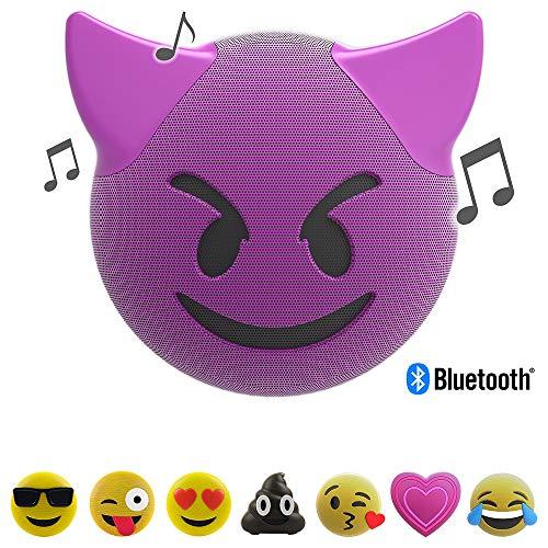 JAM Jamoji Bluetooth Lautsprecher mit LED-Beleuchtung (Devil, Teufel Smiley Emoticon Emoji, kabellose Lautsprecherbox, 6 Stunden Akkulaufzeit, mit Standfuß, AUX und Micro-USB Anschluss)