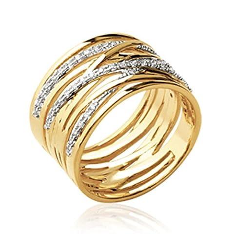 ISADY - Lennicka Gold - Bague femme - Plaqué Or 750/000 (18 carats) - Oxyde de Zirconium