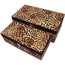 Geko leopardo tela cubierta almacenamiento cajas 22 y 18cm, juego de 2