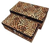 Geko Stoff Leopard Bedeckte Lagerungskästen 22 Cm und 18 Cm, Gesetzt 2