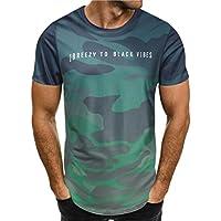 Angebote, Deals,Herren T-Shirt Ronamick Mode Persönlichkeit Camouflage Männer Casual Schlank Kurzarm-Shirt Top Bluse (Grün, XL)