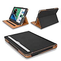 MOFRED® New Black & Tan Apple iPad 9.7 inch (Launched 2017) Leather Case-MOFRED®- Executive Multi Function Leather Standby Case for Apple New iPad 9.7
