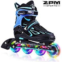 2pm Sportes Vinal Azul Patines en línea tamaño ajustable, con luces que se encienden en las ruedas para adolescentes, diseño colorido y moderno. - Azul S(31-34)