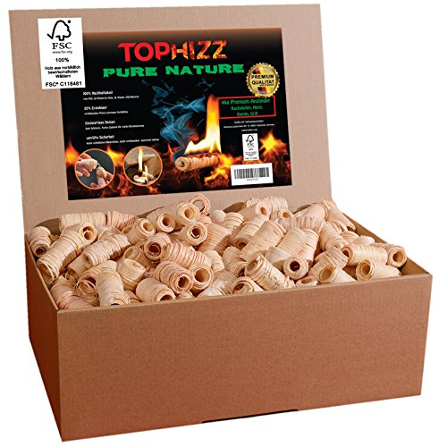 Pure Nature Anzünder Kamin Holzwolle Wachs - FSC-Zertifiziert- Made-In-Germany Grillanzünder/Ofenanzünder/Bioanzünder/Kaminanzünder-rauchlos/rußfrei/sicher