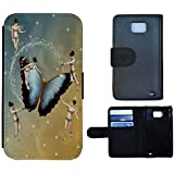 Flip Cover Funda de piel Funda Case Para Samsung Galaxy S2 Plus I9105, 1296 marfil hadas mariposa Abstract)