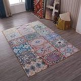 XTYWMTX Plaid Retro Alfombra Dormitorio Alfombra Antideslizante de Piso casero Alfombra Hermosa patrón geométrico,B,160cm*230cm