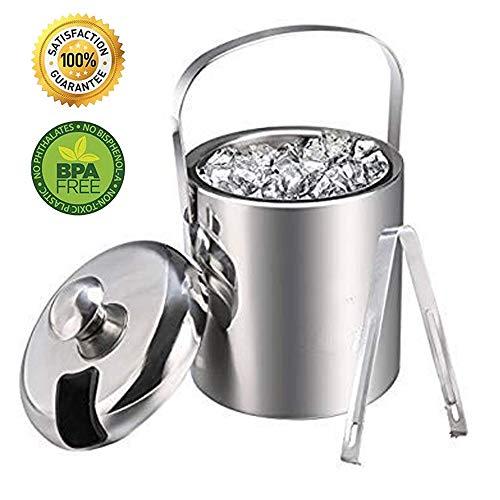 Eiskühler 1,2L Doppelstöckiger Eiswürfelbehälter Edelstahl Eiseimer Eisbehälter mit Zange und Deckel Edelstahl Weinkühle eiskübel eiskühler , Doppelwand-Isolierung für besonders Lange Kühlung (1.2L)