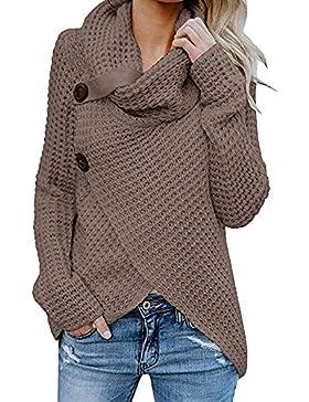 [Patrocinado]Jerseys De Punto para Mujer Cuello de Tortuga Manga Larga Suelto Prendas de Punto Suéter Irregular Jerséis Collar...