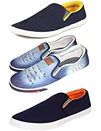 Fitbloom Men's/Boy's Combo Pack Of { 2 } Stylish Loafer With Latest { 1 } Denim Casual Loafer Shoes
