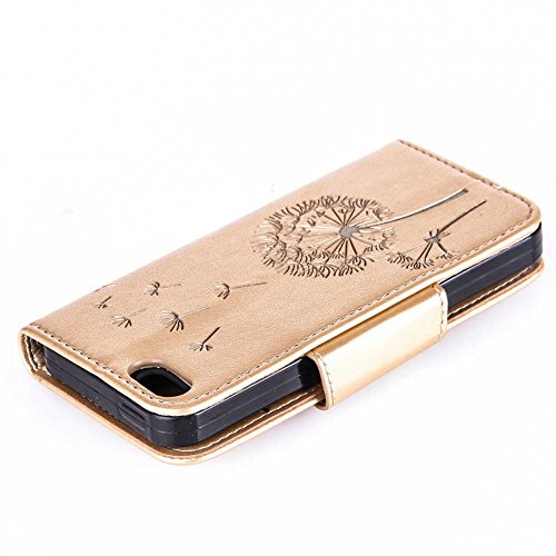 iPhone 5 5S SE Coque, LANDEE PU Leather Bling Bling Gaufrage Etui Housse Flip Case Coque Pour iPhone 5 / iPhone 5S / iPhone SE (5S-P-0612) 5S-P-0607