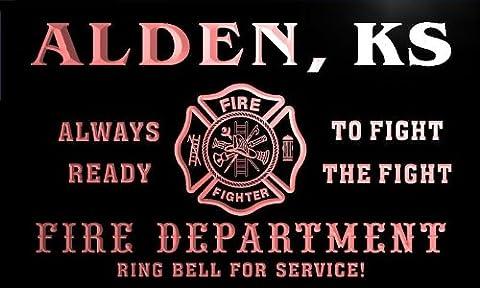 qy56000-r FIRE DEPT ALDEN, KS KANSAS Firefighter Neon Sign