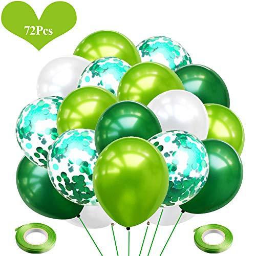 JWTOYZ 72 Stück Luftballons Grün Weiß Konfetti Ballons für Geburtstag, Babyparty, Hochzeit - Grün & Weiß (Ballons Grüne Geburtstag)