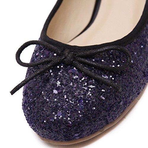 dqq Chaussures pour Femme avec nœud à enfiler Plat à sequins pour femme Violet - violet