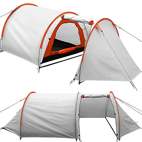 4 person Tent with practical awning family tent camping outdoor 395x180x110cm - Grey Orange