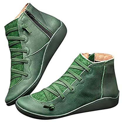 2019 New Women's Ankle Boots Ladies Casual Arch Support Boots Waterproof Boots Flat Slip On Boots Comfy Booties Vintage High Top Side Zipper Shoes Outdoor Anti-Slip Walking Boots 6